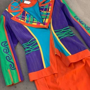 Colorful vintage 80's suit blazer + skirt set